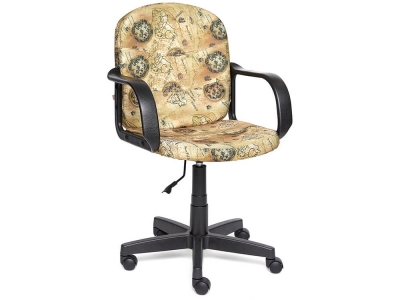 Кресло Baggi ткань Принт Карта на бежевом