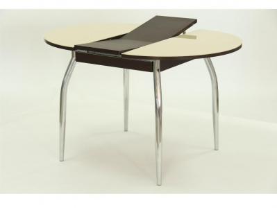 Стол круглый раздвижной со стеклом Гала 3 венге песочный