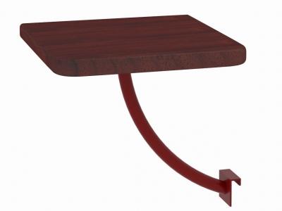 Полка прикроватная квадратная Милсон коричневая-металл красный