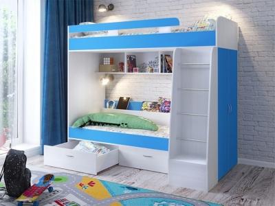 Кровать двухъярусная Юниор 6 белый-голубой